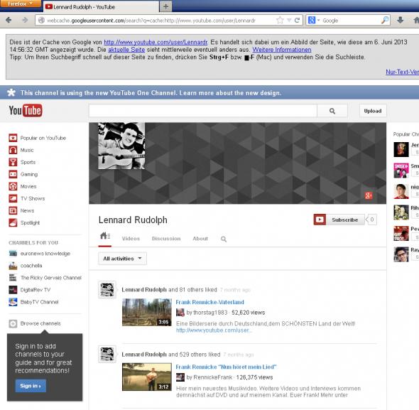 Google-Cache Abbild eines YouTube-Nutzers mit dem Namen Lennard Rudolph. Die Frank Rennicke Videos wurden mittlerweile entfernt.