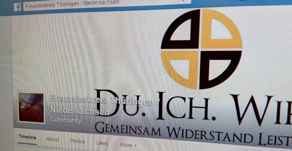 """Die Gestaltung des Auftritts des """"Freundeskreis Thüringen/Niedersachsen"""" nimmt Anleihen bei der """"Identitären Bewegung""""."""